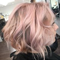 picture of Pink toned tousled bob